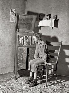 "U.S. Listening To Radio, May 1940. Crawford County, Illinois. ""Daughter of Farm…"