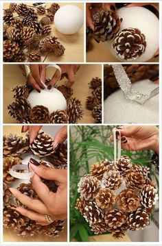 DIY: Pinecone Poms.Judy Leesburg... i always paint the ball first...it helps hide the white part fill in with fallleaves very pretty: