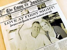 Great keepsake in the form of an Offical Personalizable Wedding Newspaper from NewsFavor.com | themarriedapp.com hearted <3