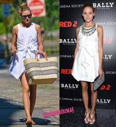 Olivia Palermo saca partido a su vestido camisero para el día y para la noche