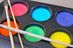 Liquid Sidewalk Chalk = 1c cornstarch, 1c water, food coloring, muffin tin, paintbrushes