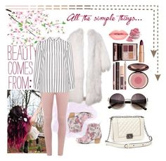 """""""Beauty comes from..."""" by mssantos ❤ liked on Polyvore featuring Charlotte Tilbury, Dorothy Perkins, Sbicca, Relaxfeel, Lime Crime, Jette, Pink, beautiful, stripes and nature"""