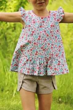 Oliver + S Butterfly Blouse and Class Picnic Shorts | by Malgosia Malgosia