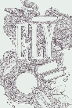 Ely Senior Thesis Poster: fantastic Illustration with type from Kate O'hara (light, dark background and 1st concept)