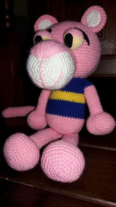 """Rosana y su Pantera ♥ Todos son trabajos de amigas tejedoras de Chibigumis!!!!!!! basados en el patrón """" La Pantera Rosa"""" by Chibigumis♥ (Patrón disponible con solo dejar un mensaje privado solicitándolo!♥)"""
