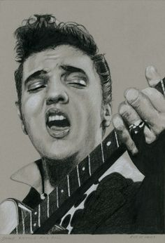 My latest Elvis drawing. Elvis in Charcoal #93, Shake, Rattle and Roll. Charcoal, white chalk and ink on colored paper, 15 x 21 cm. www.elvis-art.com