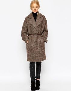 ASOS | ASOS Coat in Cocoon Fit with Belt at ASOS