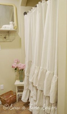 Ruffled Shower Curtain in my bathroom.  Made by Jill at Sew a Fine Seam!  Love=)