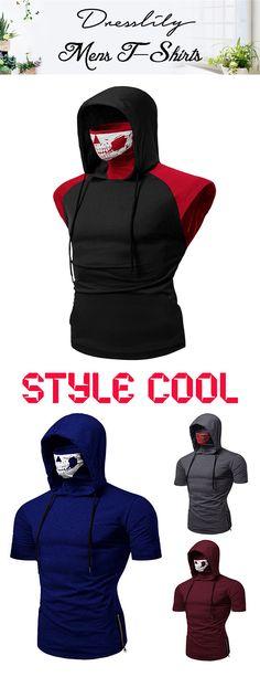 3ac0dae6d124 Skull mask hooded short sleeve t-shirt, free Shipping on orders over $45.