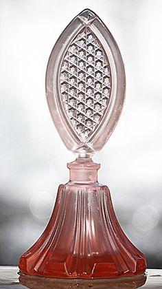Special Matte Pink Perfume Bottle  Art Deco Czechoslovakia