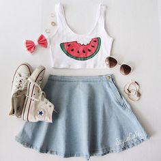 Summer is dwindling  // top: @qteeshirts • bow: @rebowlution • sunglasses: @cicihot • skirt: @americanapparelusa #flatlay #flatlayapp #flatlays www.theflatlay.com