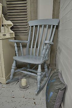 This Antique Wheelback Chair Painted In Valspar Driftwood Blues, Adds A  Calming Vibe And Would Sit Perfectly In A Bedroom Or Hallway. Http://www.thu2026
