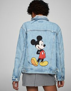 Mickey Mouse denim jacket - Denim - Coats and jackets - Clothing - Woman - PULL&BEAR Egypt