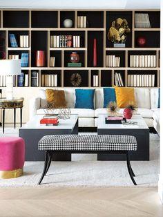 Bookshelves In Living Room, Living Room Sofa, Living Room Furniture, Living Room Decor, Home Office Space, Home Office Design, Home Interior Design, Modern Apartment Decor, Apartment Interior