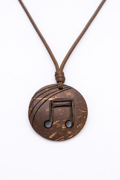 "Gift for music lover ""Chill Out"" from Coconut Shell hand carved music note music jewelry music pendant natural eco pendant brown pendan - $20.00 USD"