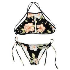 53344dd77ad Cupshe Fashion Women s Full Blooming Floral Printing Tank Padding Bikini  Set (XL) at Amazon