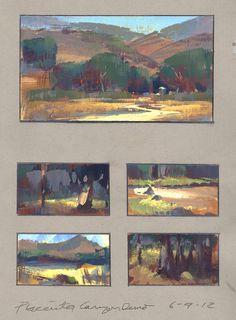 Color landscape sketches by contemporary painter - Nathan Fowkes. Landscape Sketch, Landscape Art, Landscape Paintings, Art Et Illustration, Landscape Illustration, Sketchbook Inspiration, Painting Inspiration, Gouache Painting, Painting & Drawing