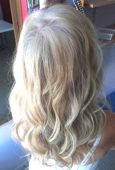 This is how my hair is looking...greyish outgrowth with blonde ends. It will be nice to have it all grown out!