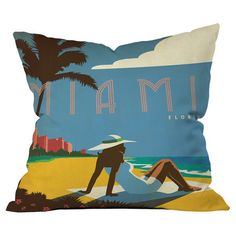 Throw pillow with Miami motif by Anderson Design Group for DENY Designs. Made in the USA.  Product: PillowConstruction Ma...