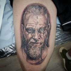 "32 Likes, 1 Comments - Neill Hargreaves (@spectre_tattoos) on Instagram: ""#Ragnarlothbrok #tattoo #blackgreytattoo #ragnartattoo #vikings #inked #thightattoo #spectretattoos…"""