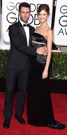 Adam Levine and Behati Prinsloo At the 2015 Golden Globe Awards