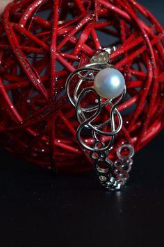 Bracciale semirigido perla in argento 925 con perla d'acqua dolce pezzo unico fatto a mano gioiello importante regolabile