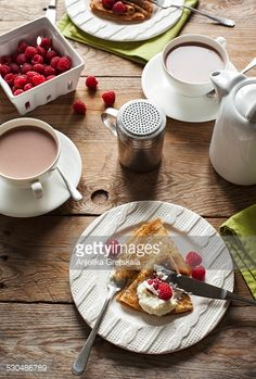 Stock Photo : Breakfast with crepes and hot chocolate