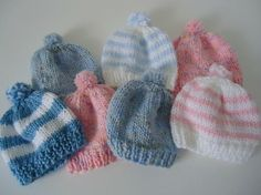 """""""These hats are great for donating because they stretch from newborn to year-old sizing. The ribbing can be turned up at the bottom for little noggins."""""""