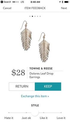 Towne & Reese Dolores Leaf Drop Earrings. I love Stitch Fix! A personalized styling service and it's amazing!! Simply fill out a style profile with sizing and preferences. Then your very own stylist selects 5 pieces to send to you to try out at home. Keep what you love and return what you don't. Only a $20 fee which is also applied to anything you keep. Plus, if you keep all 5 pieces you get 25% off! Free shipping both ways. Schedule your first fix using the link below! #stitchfix…