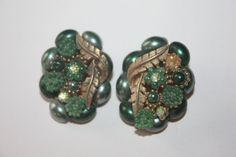 Vintage Green Cluster Earrings Rhinestone 1950s by patwatty, $2.00