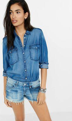c93a8ffb4c dark blue denim soft twill boyfriend shirt from EXPRESS- Brookfield and  southridge