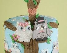 'Owl Wedding Cake' (Bride and Groom)