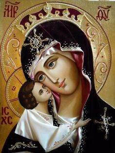 """""""When you are about to pray to our Lady the Holy Virgin, be firmly assured, before praying, that you will not depart from her without having received mercy. Religious Pictures, Religious Icons, Religious Art, Blessed Mother Mary, Divine Mother, Greek Icons, La Madone, Queen Of Heaven, Mary And Jesus"""