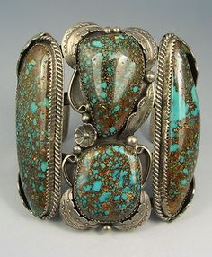 "4 stone  Turquoise Bracelet, possibly #8 Mine, stamped ""LBJ"""