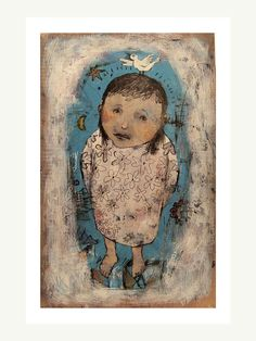 Items similar to Girl and Bird original painting portrait home decor wood plaque on Etsy Bird People, Kinds Of Birds, Painting Patterns, Portrait, Decoration, Cool Gifts, Painting Frames, Photo Art, Art Drawings
