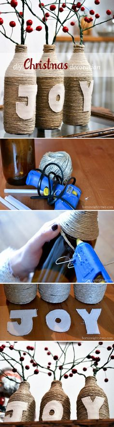 Cute way to reuse glass bottles and a fun activity putting them together!
