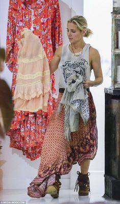 Bohemian beauty: Elsa Pataky enjoyed a bonding day with her sister-in-law Samantha Hemswor...