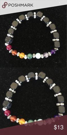 Chakra Bracelet Chakra Bracelet with Gen Gemstones and black square beads Jewelry Bracelets
