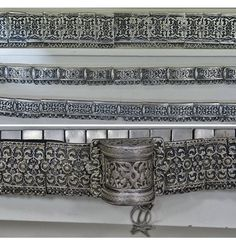 Caucasian women's belts. From the Kars province, 19th & early 20th century. The ethnic origins are not given (Armenian, Georgian, Circassian, Azeri, etc.), neither for the silversmiths, nor for the former owners. High grade silver, engraved & niello decoration. On exhibit in the Kars Museum. (both pictures: © Dick Osseman).
