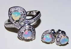 (SOLD)Genuine heart shaped opal gemstone bypass ring by RetroRecyclables, $70.00