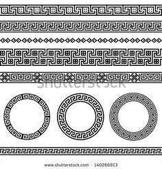Traditionelles griechisches Mäander-Bordüren-Set. Vektor antikes Rahmen-Paket. Deko-Element-Muster in schwarz-weißen Farben. Ethnischen Sammlungen. Vektor-Grafiken.
