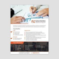 Design a Flyer/Leaflet for a Financial Consulting Firm Companies (All Types of businesses) , High Net Worth IndividualsFC Solutions is a Financial Consulting Firm speci. Creative Advertising, Advertising Design, Financial Website, Corporate Website Design, Financial Analysis, Consulting Firms, Custom Postcards, What Inspires You, Financial Institutions