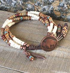 Seed Bead Leather Bracelet Native American Style  Buffalo Wrap Bracelet For  Women  Southwestern Style Beaded Bracelet 06fc67261708b