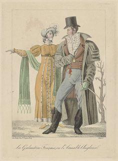 Anonymous | French Gallantry, or English Charm, Anonymous, Genty, c. 1810 - c. 1812 | Een man en vrouw lopen gearmd. Zij draagt een hooggesloten japon met verhoogde taille en lange mouwen. Accessoires: hoed met veren en striklinten, sjaal met aan de uiteinden franjes, ceintuur, schoenen met puntige neuzen. Hij is gekleed in een overjas (carrick) met vier schouderkragen, frak met twee rijen knopen, gestreept vest en lange broek. Cravate en hemd met gerimpelde jabot. Accessoires: hoge hoed…