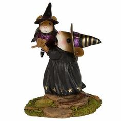 """One of the perks of being a witch...learning to fly! Sculpted by Willy.  2.25"""" x 1.75"""""""