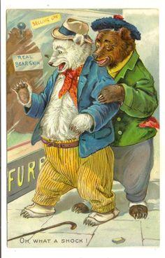 "Embossed Postcard Teddy Bears Raphael Tuck ""Oh What A Shock"" | eBay"
