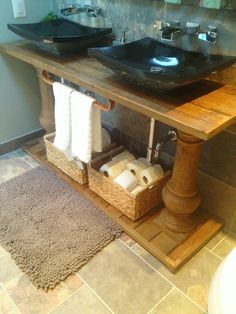 Arhaus Furniture Console Table Becomes A Beautiful Double Vanity. Bathroom  Renovation. Design By Claire