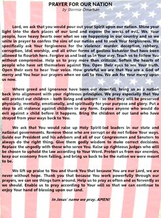 Prayer for our Nation - Join me in praying this for our nation. It was written by Stormie Omartian.