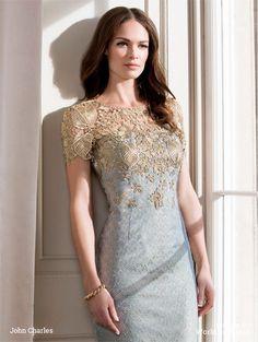 John Charles 2016 mother bride Modern metallic jacquard knee-length dress