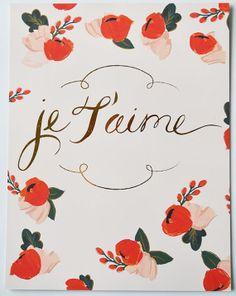 Je T'aime Floral Gold Foil 8 1/2 x 11 por firstsnowfall en Etsy, $35.00